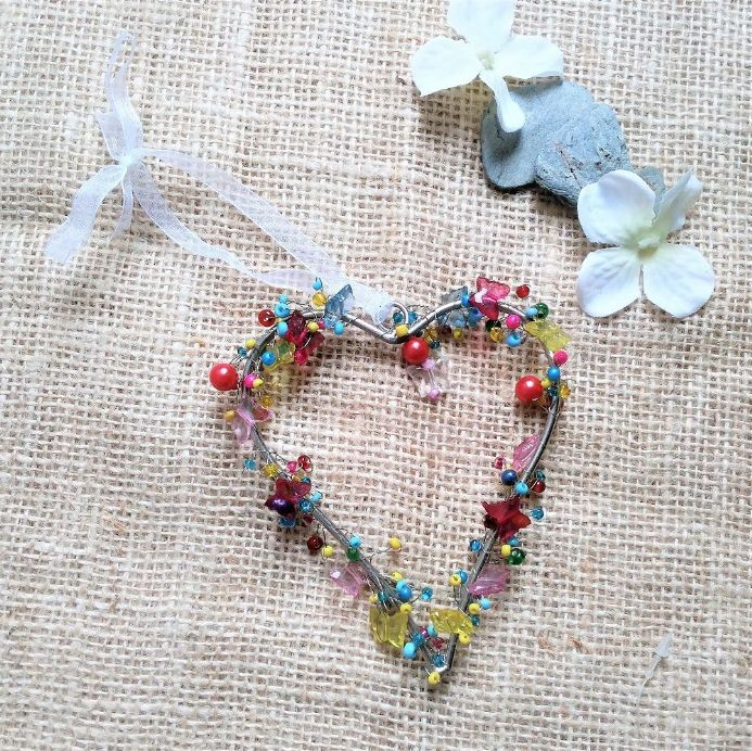 50% OFF Bright beaded heart with butterflies